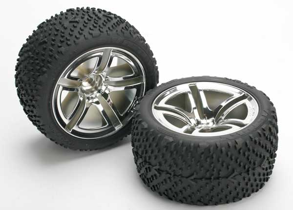 Tires & wheels, assembled, glued (Twin-Spoke wheels, Victory tires, foam inserts) (nitro rear) (2)