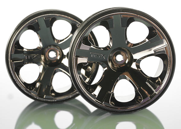 "Wheels, All-Star 2.8"" (black chrome) (nitro rear/ electric front) (2)"