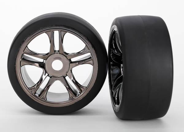 Tires & wheels, assembled, glued (split-spoke, black chrome wheels, slick tires (S1 compound), foam inserts) (front) (2)