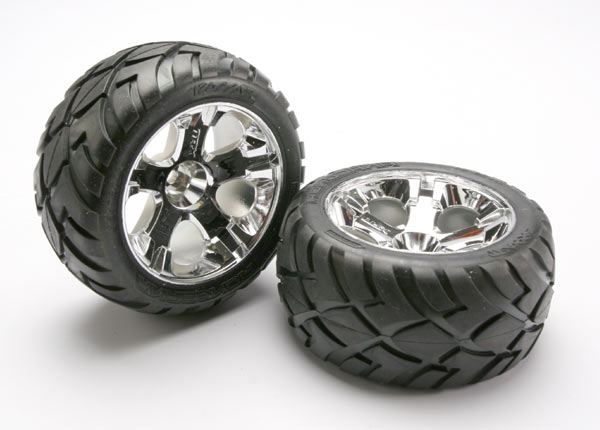 Tires & wheels, assembled, glued (All-Star chrome wheels, Anaconda tires, foam inserts) (nitro rear/ electric front) (1 left, 1 right)