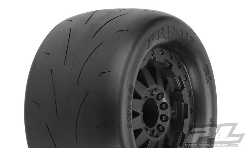 """Prime 2.8"""" (Traxxas Style Bead) Street Tires Mounted for Electric Stampede/Rustler Rear, Mounted on F-11 Black Rear Wheels"""