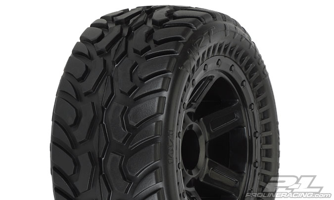 Dirt Hawg I Off-Road Tires Mounted for 1:16 E-REVO, 1:16 SUMMIT Front & Rear, Mounted on Desperado Black Wheels