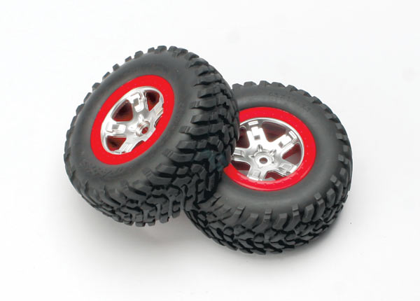 Tires & wheels, assembled, glued (SCT satin chrome, red-beadlock style wheels, SCT off-road tires, foam inserts) (2) (4WD front/rear, 2WD rear only)