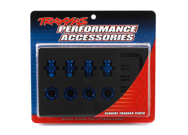 Wheel hubs, splined, 17mm, short (4)/ wheel nuts, splined, 17mm (4) (blue-anodized)/ hub retainer M4 X 0.7 (4)/ axle pin (4)/ wrench, 5mm