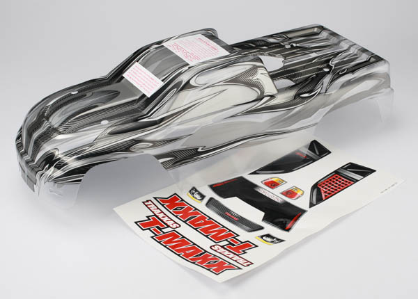 Body, T-Maxx, ProGraphix (long wheelbase) (replacement for painted body. Graphics are painted- requires paint and final color application)/ window, grill, lights decal sheet