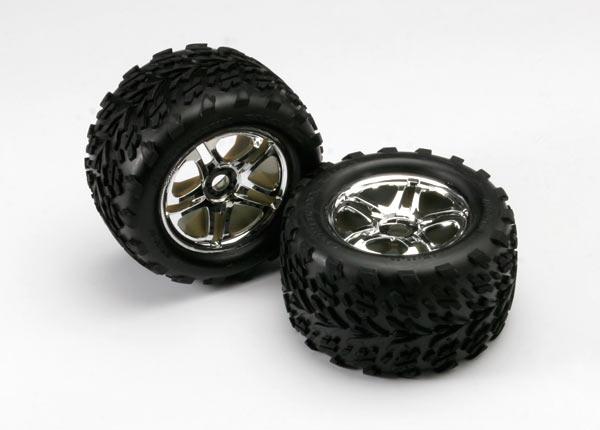 Tires & wheels, assembled, glued (SS (Split Spoke) chrome wheels, Talon tires, foam inserts) (2) (use w/17mm splined wheel hubs & nuts, part #5353X)