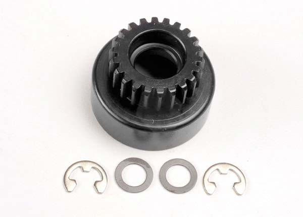 Clutch bell, (22-tooth)/ 5x8x0.5mm fiber washer (2)/ 5mm E-clip (requires #4611-ball bearings, 5x11x4mm (2))