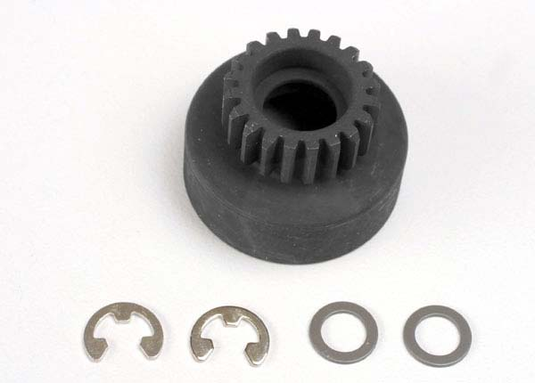 Clutch bell, (20-tooth)/ 5x8x0.5mm fiber washer (2)/ 5mm E-clip (requires #4611-ball bearings, 5x11x4mm (2)
