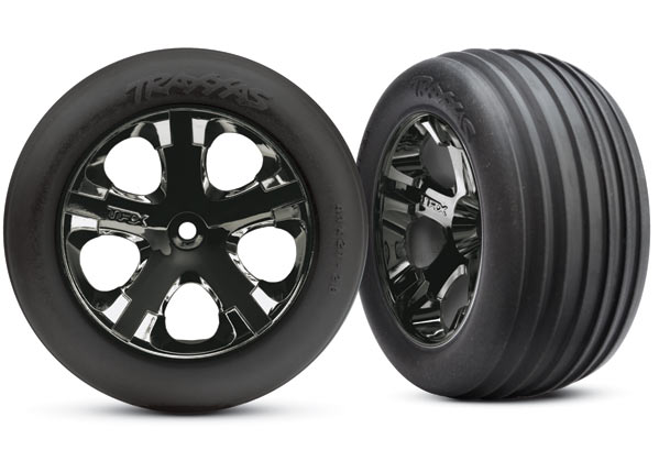 "Tires & wheels, assembled, glued (2.8"")(All-Star black chrome wheels, Ribbed tires, foam inserts) (electric front) (2)"