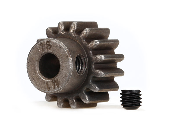 Gear, 16-T pinion (1.0 metric pitch) (fits 5mm shaft)/ set screw