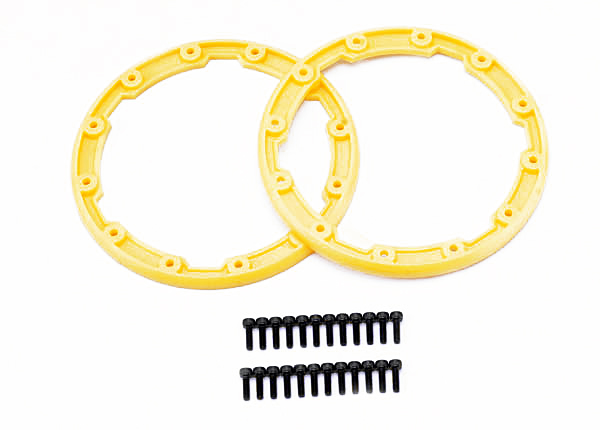 Sidewall protector, beadlock style (yellow) (2)/ 2.5x8mm CS (24) (for use with Geode wheels)
