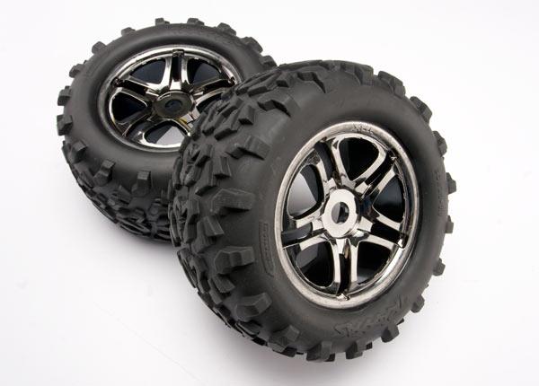 "Tires & wheels, assembled, glued (SS (Split Spoke) black chrome wheels, Maxx tires (6.3"" outer diameter), foam inserts) (2) (fits Maxx/Revo series) (TSM rated)"