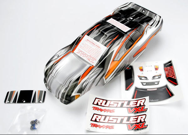 Body, Rustler VXL, ProGraphix (replacement for the painted body. Graphics are printed, requires paint & final color application)/window, lights decal sheet/ wing and aluminum hardware
