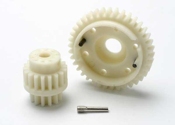 Gear set, 2-speed wide ratio (2nd speed gear 38T, 13T-18T input gears, hardware)