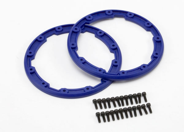 Sidewall protector, beadlock style (blue) (2)/ 2.5x8mm CS (24) (for use with Geode wheels)
