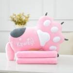 หมอนผ้าห่ม ลายอุ้งมือหมี สีชมพู