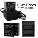 แบตเตอรี่และที่ชาร์จ GoPro Hero 3 3+ AHDBT-301 AHDBT-201 AHDBT301 AHDBT201 1600mAh and Dual Charger