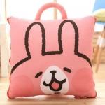 หมอนผ้าห่ม ลายกระต่ายน้อยลั๊นลา สีชมพู