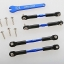 Turnbuckles, aluminum (blue-anodized), camber links, front, 39mm (2), rear, 49mm (2) (assembled w/rod ends & hollow balls)/ wrench