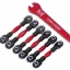 Turnbuckles, aluminum (red-anodized), camber links, 32mm (front) (2)/ camber links, 28mm (rear) (2)/ toe links, 34mm (2)/ aluminum wrench