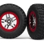 Tires & wheels, assembled, glued (S1 ultra-soft, off-road racing compound) (SCT Split-Spoke chrome, red beadlock style wheels, BFGoodrich® Mud-Terrain™ T/A® KM2 tires) (2) (2WD front)