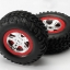 """Tires & wheels, assembled, glued (SCT, satin chrome, red beadlock wheels, dual profile (2.2"""" outer, 3.0"""" inner), SCT off-road tires, foam inserts) (2)"""