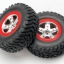 Tires & wheels, assembled, glued (SCT satin chrome, red beadlock style wheels, SCT off-road tires, foam inserts) (2) (2WD front)