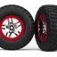 Tires & wheels, assembled, glued (S1 ultra-soft, off-road racing compound) (SCT Split-Spoke chrome, red beadlock style wheels, BFGoodrich® Mud-Terrain™ T/A® KM2 tires, foam inserts) (2) (4WD f/r, 2WD rear)