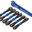 Turnbuckles, aluminum (blue-anodized), camber links, 32mm (front) (2)/ camber links, 28mm (rear) (2)/ toe links, 34mm (2)/ aluminum wrench